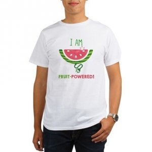 Raw vegan products and raw vegan T-shirts - Fruit-Powered Merchandise - I Am Fruit-Powered T-shirt - watermelon - Fruit-Powered Store