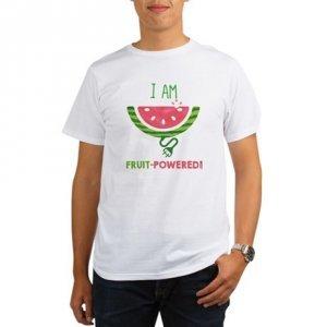 Raw vegan products and raw vegan T-shirts - Fruit-Powered Merchandise - I Am Fruit-Powered T-shirt - watermelon - Fruit-Powered Store