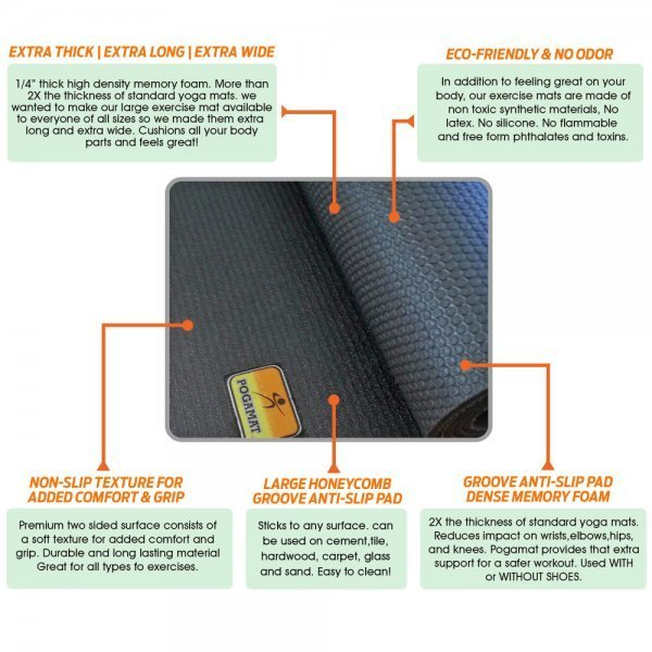 Pogamat Anti-Tear Cardio Mats and Yoga Mats - features - Fruit-Powered Store
