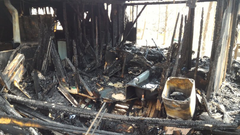 Brian Rossiter cottage fire - interior