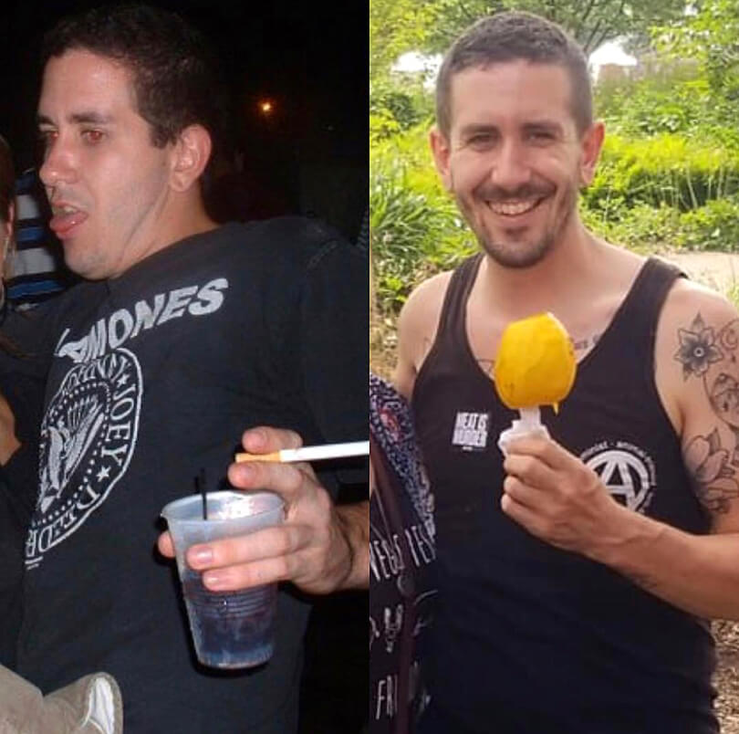 TJ Long - before and after - Raw Vegan Transformations - Fruit-Powered