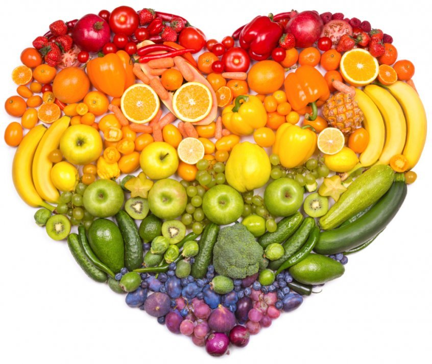 Health transformation - rainbow fruits in heart shape - Fruit-Powered