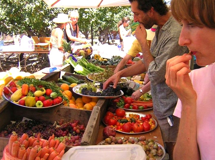 Modern-day raw food movement history - Rawstock - man and woman eat fruit at potluck - Fruit-Powered