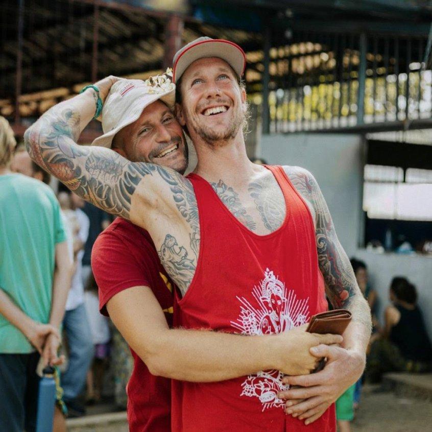 Brian Calvi and Chris Kendall embrace - Farm of Life retreat - Costa Rica - Fruit-Powered