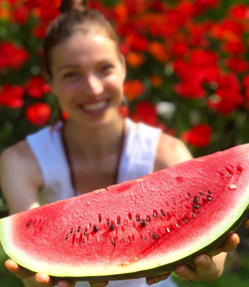Kristina Poudyal - with watermelon - Fruit-Powered