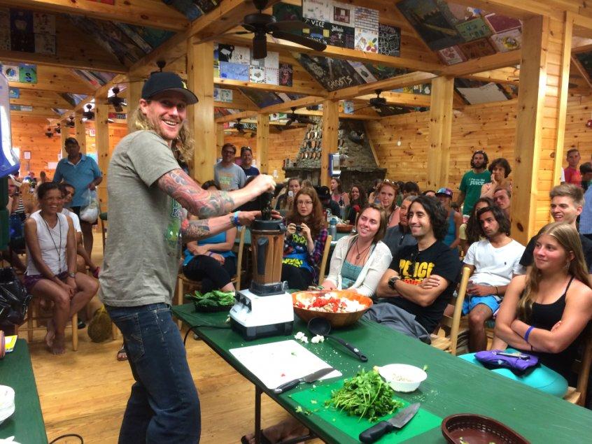 Raw vegan chef - Chris Kendall - Woodstock Fruit Festival - recipe demonstration - Fruit-Powered