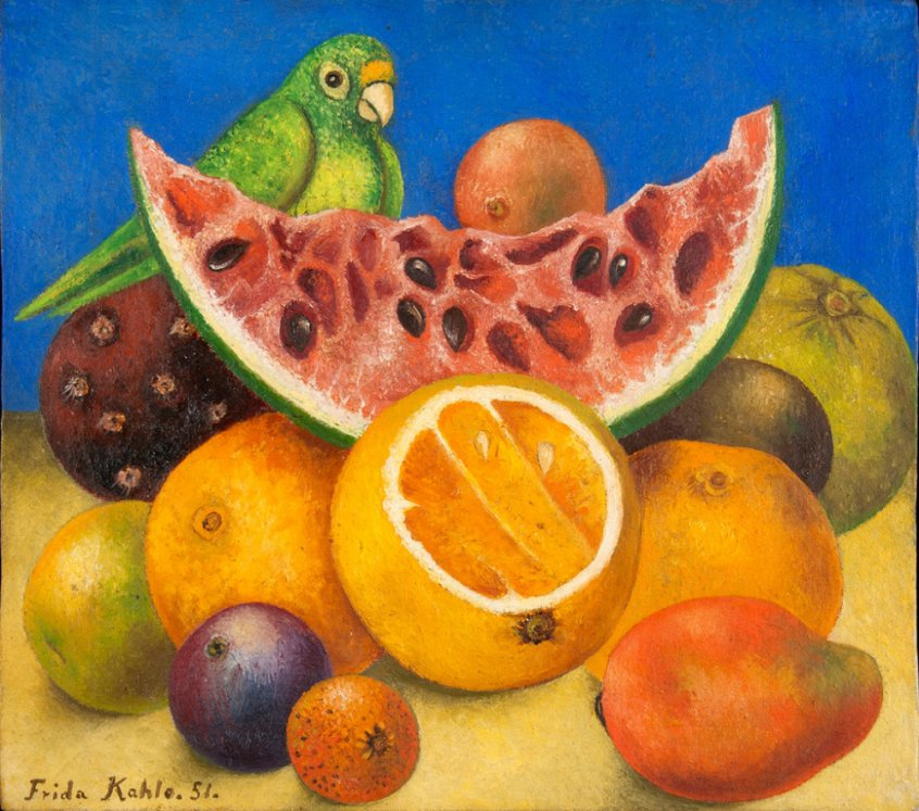 Still Life With Parrot and Fruit - Frida Kahlo - painting - Fruit-Powered