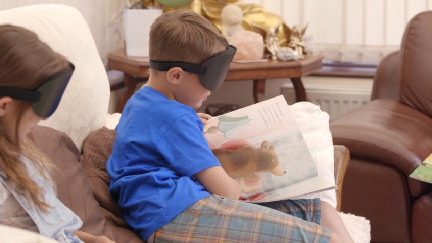 Superhuman: The Invisible Made Visible - child reading blindfold - Fruit-Powered